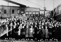 British immigrant children from Dr. Barnardo's Homes at landing stage, St. John, New Brunswick.