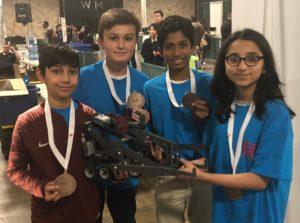 Junior VexIQ - Bronze (from L to R) Sarim Khan, Maxwell Zanerips, Aliza Ahmad, Pranav Marthi