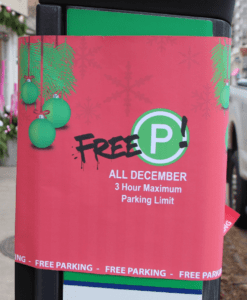 Parking meter wrapped