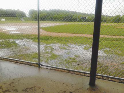 baseball diamond under water