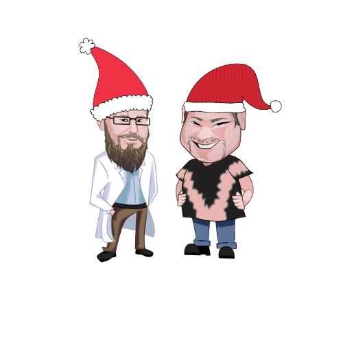 marty and ted with santa hats on