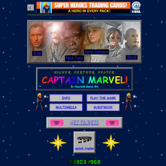 Filme Capitã Marvel ganha site com design dos anos 90 16