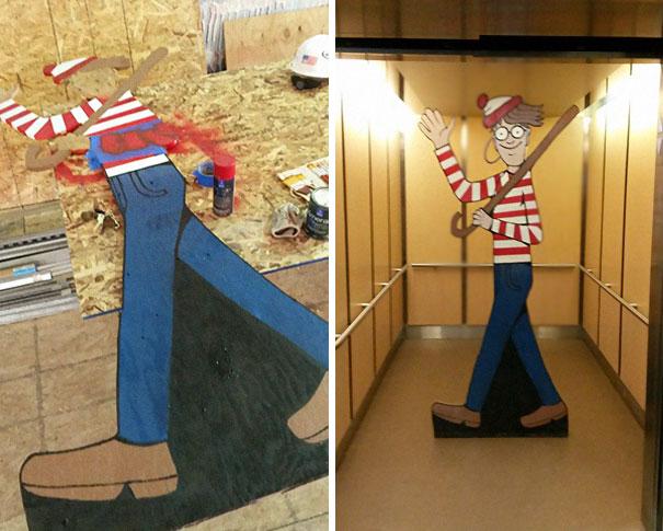 Pedreiro esconde Wally para que crianças de hospital em frente possam encontrá-lo 21