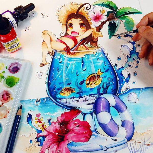 Artista desenha ilustrações fofas e geeks em versão Chibi 19