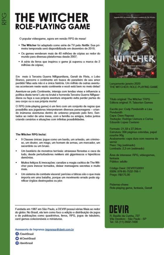 RPG de mesa baseado em The Witcher será lançado em janeiro no Brasil 19