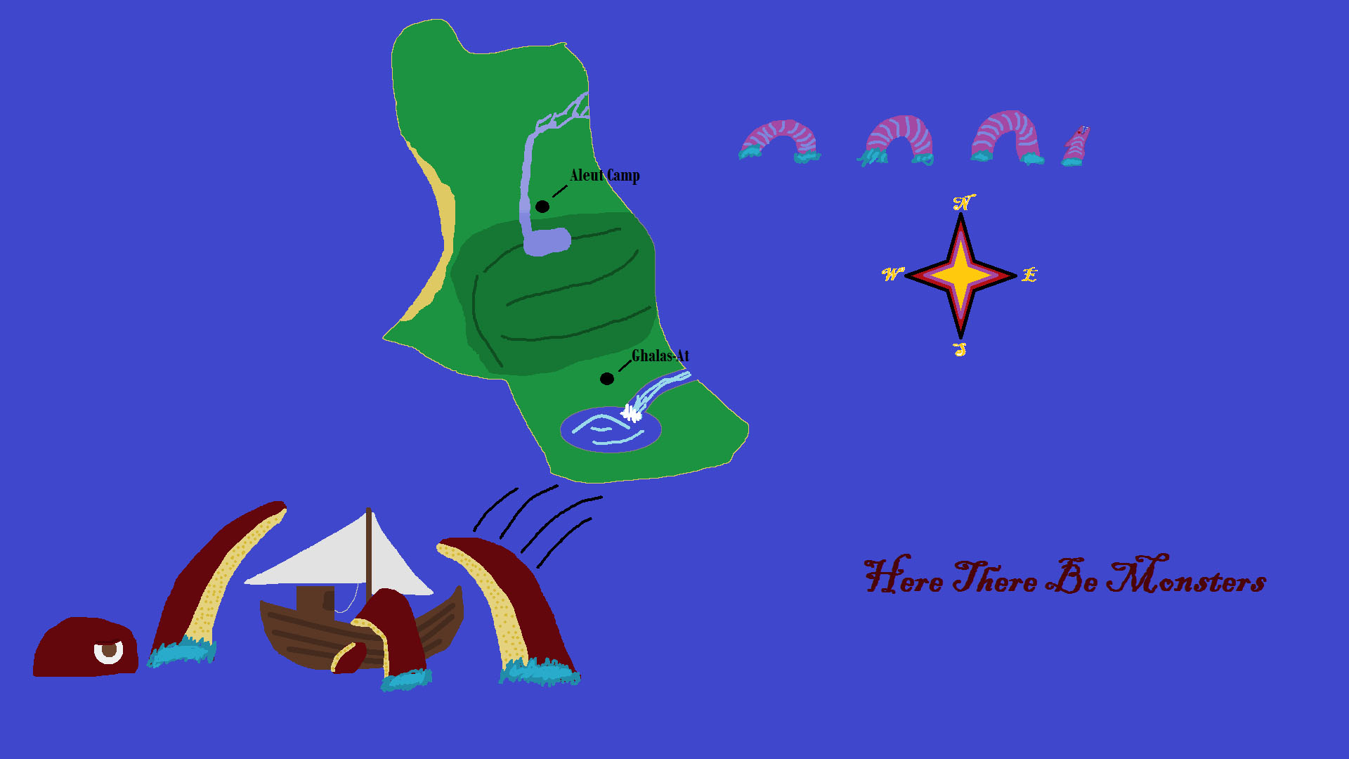 burnettsahoy tommy s map of the island of the blue dolphins for school the sea monsters were not part of the assignment