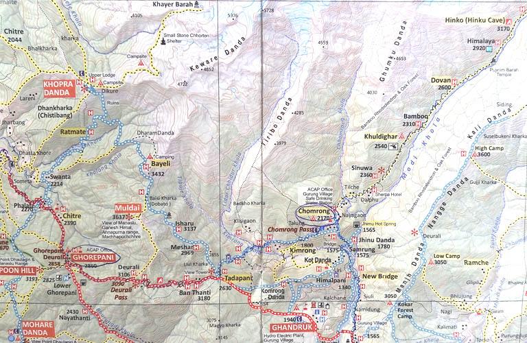 Annapurna Sanctuary Trek Map Annapurna Circuit Annapurnarunde Karte