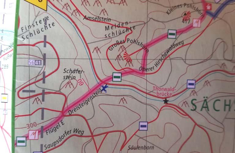 Karte Malerweg Zelten Sächsische Schweiz Trekking Deutschland