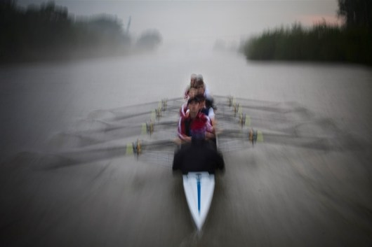Wroclaw, Poland. Eight with coxswain, the crew from Wroclaw's Technical University train hard before annual competition with another university. This crew won the race.
