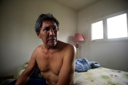 Joseph Cardinal in his room in Fort Chipewyan. Joseph had a softball-sized tumour removed from his stomach three years ago.