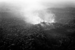 BRAZIL, SANTAREM REGION. NOVEMBER 2008. Aerial view of the Amazon rainforest during fire caused to clear the land.