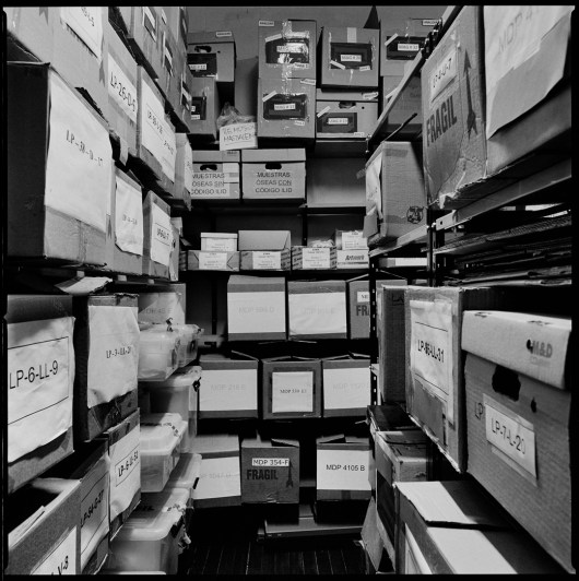 One of the storage rooms of the EAAF (Argentine Forensic Anthropology Team in spanish), filed with boxes of recovered remains political disappeared people. This remains are in storage to be identified and only when with a very strong evidence of identification is returned to the families of the disappeared. Buenos Aires, Argentina, January 2012.