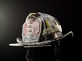 The helmet worn by firefighter Matt Komorowski that flew off his head when the towers collapsed. It was found and returned months late.