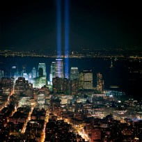 Six months after the fall of the Twin Towers, two beacons of blue light rise beyond Tribeca as a memorial to New York City's darkest, and bravest, hour. March 11, 2002.