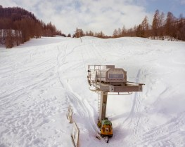 The departure of the Lacedell ski-liftt in Cortina D'Ampezzo BL, 2010. Totally renovated in 2007 - it has never been activated - this ski-lift is now abandoned due to landslides which are threatening its stability.