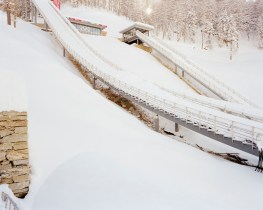 The 2006 Winter Olympic's ski jumping facility in Pra Gelato TO, 2010. Worth 35 mln euros, it is now totally abandoned and fenced off due to the high risk of snow slides.