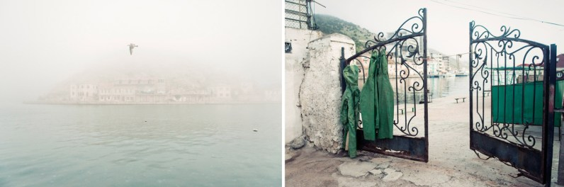 Left: The underground factory of submarines is seen through the fog. Now it uses as a museum. Right: A public beach in Balaklava.