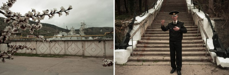 Left: Warships of the Ukrainian coast guards are seen over the wall. Right: Alexander, a director of the military orchestra in Balaklava, is posing for a picture while singing a song about his native town.