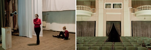Left: Young girls are preparing their performance for the Victory Day in the Entertainment Center for Submariners. Right: The Entertainment Center for Submariners.