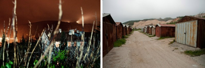 Left: The ghost-house used to be a dormitory for submariners. Nowadays nobody lives there. Right: Old car garages.