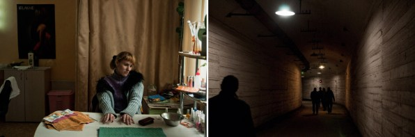 Left: A young girl is working in a beauty salon in Balaklava. Right: Tourists in the undeground museum. The government of Ukraine turned the underground military factory into a public museum, and nowadays many people come visit Balaklava that keeps many tales and legends about previous times.