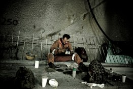 This contract worker in the tunnel of Tempe constructing a new highway near Thessaloniki gets paid 400 euros per month.