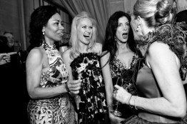 Tanya Powell, Marie Ralph, Aimee West and Marie Hurabiell (left to right) chat with one another during the cocktail hour while attending the San Francisco Ballet Opening Night Gala at City Hall. Many patrons participate in numerous social events with one another throughout the year and some become close friends.