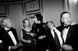 Gary Shansby, O.J. Shansby, Yurie Pascarella, Seth Matarasso and Carl Pascarella, left to right, all regular fixtures on the San Francisco social scene, joke around with one another during intermission at the San Francisco Ballet Opening Night Gala.