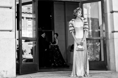 Nancy Kukacka stands outside the opera house before entering the San Francisco Opera Opening Night Gala.