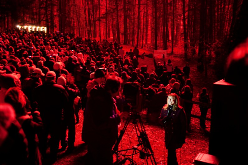 TV cameras roll as fireworks explode over a crowd gathered to see Punxsutawney Phil's annual prediction in Punxsutawney, Pennsylvania on Thursday, February 2, 2012.
