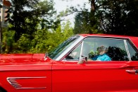 An older man and woman drive the highways of Virginia on August 7, 2011.