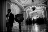 Senate Majority Leader Harry Reid (D-NV) holds his weekly press conference outside of the Senate Chambers on Capitol Hill.