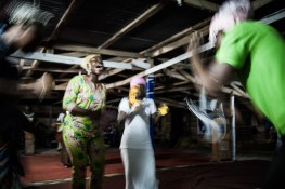 A group of women dance, sing and pray during celebration called 'War night' held on Atwea mountain