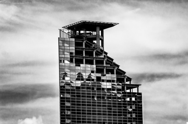 """The Cofinanzas Tower, better know as the """"Tower of David"""" can be seen from almost anywhere in Caracas, the tower have 46 floors and 196 meters of high"""