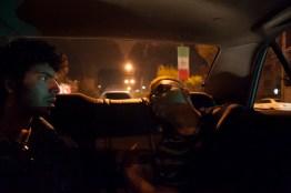 TEHRAN, IRAN - Sasan and Amir take a cab home together.