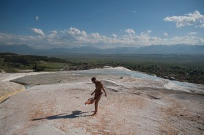 DENIZLI, TURKEY -Amir walks on top of Pamukkale terraces on his first weekend in Denizli.