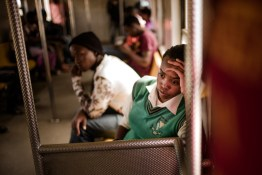 A student on the train coming back home, the most common transp