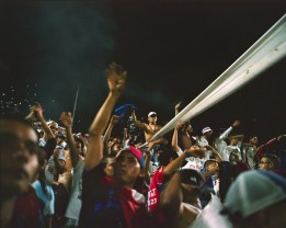 Tegucigalpa ÒUltra Fiel,Ó soccer fans during a match against San Pedro SulaÕs team. (Dominic Bracco II / Prime for Pulitzer Center on Crisis Reporting)