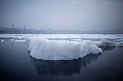 Iceberg of foam form Chimical Waste dumped by factories along the Yamuna river, Feb 2014