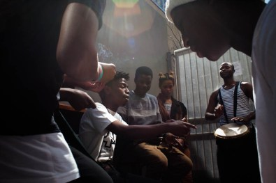 Young boys jamming in braamfontein. 2014
