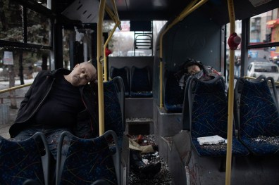 Passengers killed when a trolley bus was attacked by a mortar shell. at least 8 civilians died in the attack and dozens were injured. Donetsk.
