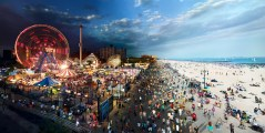 Coney Island Boardwalk, NYC, Day to Night, 2011