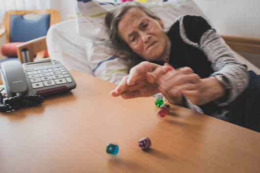"Helga always loved games. Once I tested her during a match of Yatzy, claiming that ""4x5=30"". ""No!"", she corrected me immediately, ""4x5=20!"" Studies show that cognitive activities can delay the onset of memory decline in persons who suffer from dementia. Bedburg, GERMANY, September 16, 2015."
