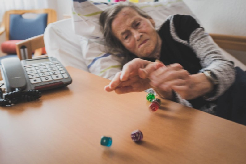 """Helga always loved games. Once I tested her during a match of Yatzy, claiming that """"4x5=30"""". """"No!"""", she corrected me immediately, """"4x5=20!"""" Studies show that cognitive activities can delay the onset of memory decline in persons who suffer from dementia. Bedburg, GERMANY, September 16, 2015."""