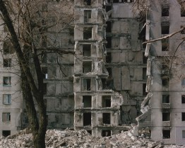 A bombarded building. Lysychansk, ATO zone (war zone), March 2015, Ukraine.