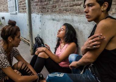 Buenos Aires, Isla Maciel. A.,K. and F. in the rehabilitacion center from drug and alcooholic addictions they attends frequently.