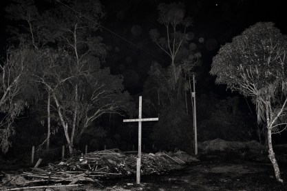 MACHADINHO, BRAZIL - OCTOBER 19, 2017: A cross belonging to an evangelical church is found outside the city of Machadinho do Oeste in Rondonia.