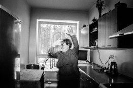 "Portrait of Teresa dancing in her kitchen. Teresas husband commited suicide 19 yeas ago. Lithuania, Varena, 21st of February 2016. Teresa wrote: ""When I'm sad, I sing, play and listen to music, I relax with a good mood, I dance, I love jokes. I try to smile at all times."""