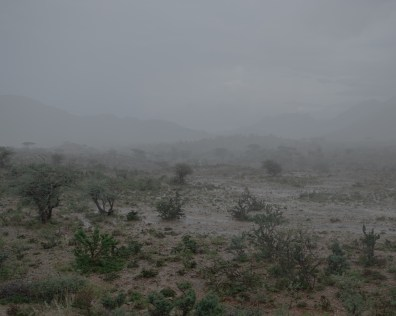 A landscape near Laaleys, Somaliland. Due to the droughts, the soil hardens and the water can not be absorb by the soil when it rains. The water masses flow through the city and block roads.