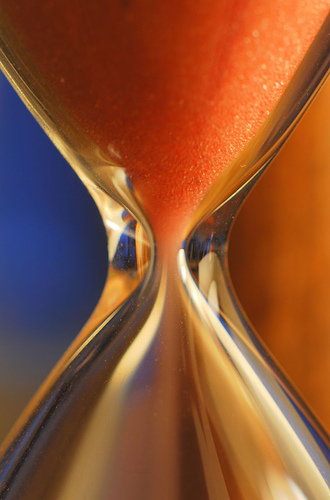 hourglass shows moment in time